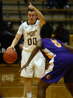 Southern Miss point guard Alex Coyne will help lead the Lady Eagles today at Middle Tennessee State.