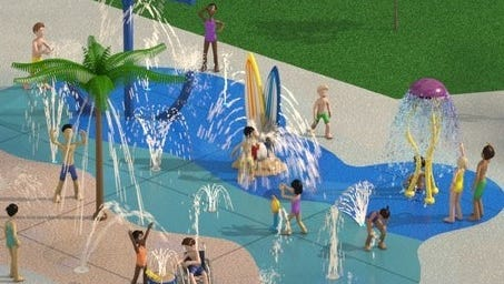 Artist rendering of splash pad opening in Roseville by Memorial Day.
