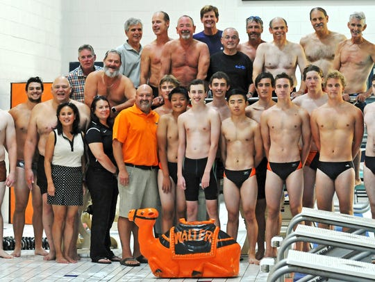 The 1973 and 2017-18 Northville swim teams were part