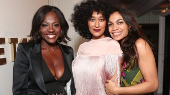 BEVERLY HILLS, CA - FEBRUARY 22:  Viola Davis, Tracee Ellis Ross and Rosario Dawson attend the 8th Annual Oscar's Sistahs Soiree Presented by Alfre Woodard and Farfetch at the Beverly Wilshire Four Seasons Hotel on February 22, 2017 in Beverly Hills, California.  (Photo by Todd Williamson/WireImage) ORG XMIT: 700007116 ORIG FILE ID: 643979926
