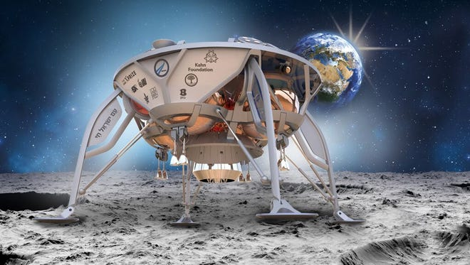 A illustration of SpaceIL's lunar pod on the surface on the moon, where to win the Google Lunar XPrize it will have to roam the surface for 500 yards while transmitting high quality images back to Earth.