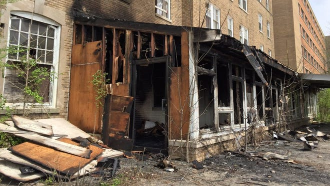 Tuesday's sunshine gave a better look at the damage caused by a fire Monday night at the former Reid Hospital campus on Chester Boulevard in Richmond.
