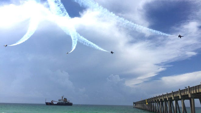 The Blue Angels fly over Pensacola Beach on Wednesday morning for Breakfast with the Blues.