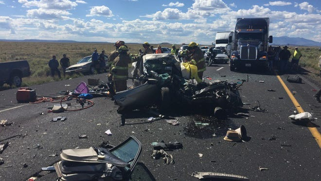 A driver was killed after she struck a semitruck head-on on the 1-40 and Twin Arrows Road on Tuesday August 30, 2016.