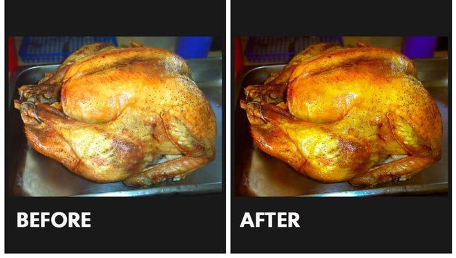 A turkey photo before and after edits.