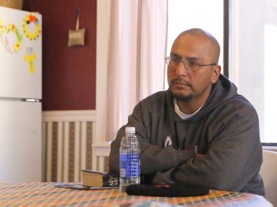 Kirtland resident Elliott Charley talks about his recovery from alcohol and methamphetamine use during an interview on Thursday at the Victory Life Church in Shiprock.