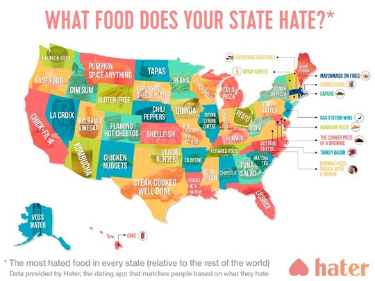 Hater, the dating app that matches people based on their mutual dislikes, identified which foods are most hated by app users in each state.