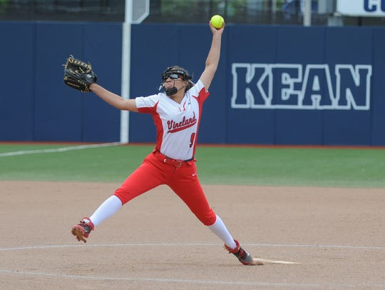 Vineland's Nicole Ortega delivers a pitch against North