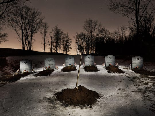 The cemetery made in protest of President Donald Trump that was purportedly placed on or near his Bedminster golf course by an anonymous activist group called INDECLINE.