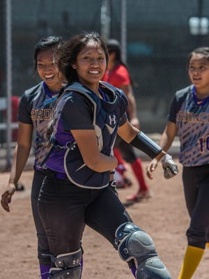 Kirtland Central's Nikki Begay celebrates after beating Roswell on Thursday at Cleveland High School.