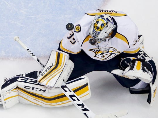 Nashville Predators goalie Pekka Rinne blocks a shot during the second period of Game 7 in an NHL hockey Stanley Cup playoffs first-round series against the Anaheim Ducks in Anaheim, Calif., Wednesday, April 27, 2016. (AP Photo/Chris Carlson)