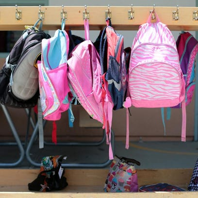Kindergartener's backpacks at Benjamin Franklin Elementary