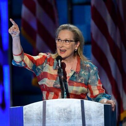Meryl Streep speaks on stage during the 2016 Democratic