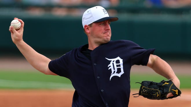 Detroit Tigers pitcher Jordan Zimmermann (27) throws a pitch during the second inning of a Spring Training baseball game against the Toronto Blue Jays at Publix Field at Joker Marchant Stadium.