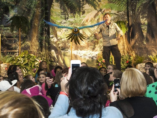 "Mike Kohlrieser's Macaw ""Kelly"" delights the audience as she flies over their heads during the Understanding Wildlife Show."