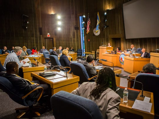 Members of the Wilmington City Council meet at the Louis L. Redding City/County Building in Wilmington on Thursday night.