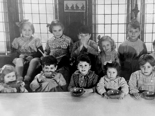 Frances Cutler Hahn, second from left, top, a Holocaust survivor, pictured here at the end of World War II in an orphanage in Paris after her mother was killed in a Nazi concentration camp.
