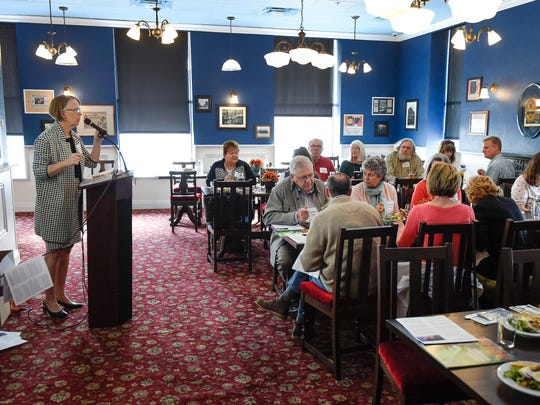 Kim Crockett, vice president, senior policy fellow & general counsel at the Center of The American Experiment, talks during an event Monday, April 30, at the Olde Brick House in St. Cloud.