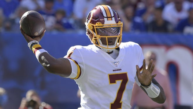 Washington Redskins quarterback Dwayne Haskins throws during the second half of a Sept. 29 game against the New York Giants in East Rutherford, N.J.