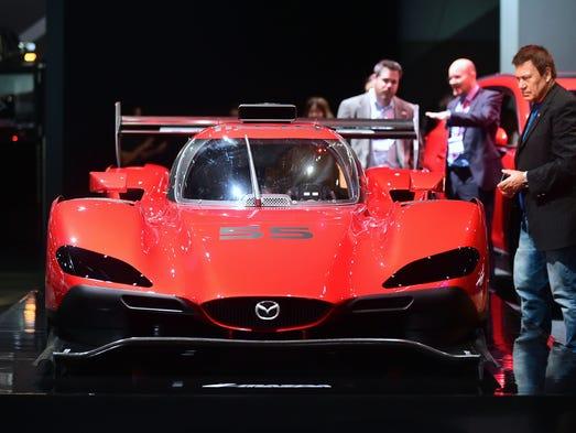 Mazda's Daytona prototype RT24-P is on display on the