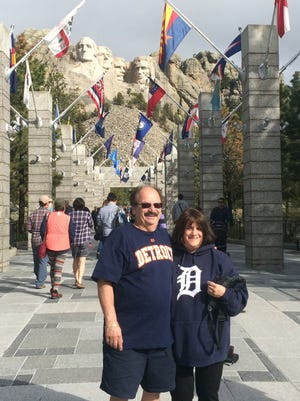 """Marsha and Barry Levine of Commerce Township took the """"D"""" to Mt. Rushmore, South Dakota in May of 2015."""
