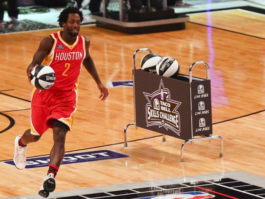 Patrick Beverley dribbles during the 2015 NBA All-Star
