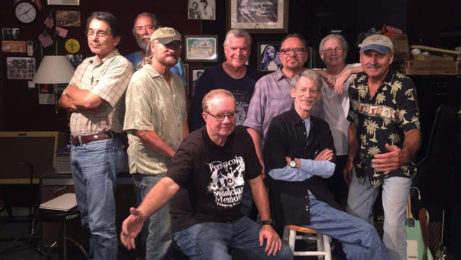 The Hip Replacements will perform Saturday, May 13, 2017, at the Musicians Memorial of Pensacola. Standing, left to right, Newman Gersin, Mike Wheeler, Burt Kimberl, Cecil Clark, Paul Garcia, Larry Kennedy and Jeff Byrd. Seated, left to right, Ron Bowman and Tommy Ratchford.