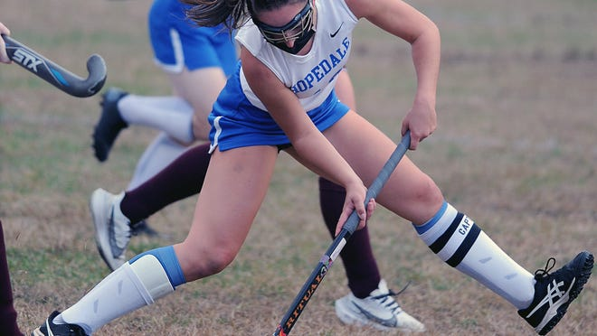 "It was Hopedale High School field hockey's ""Senior Night"" Tuesday afternoon at Draper Field, as Hopedale defeated Northbridge, 3-1. Pictured, Carly Smith scores one of her two first-half goals on her way to a hat trick."