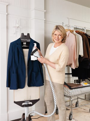 A steamer gently removes wrinkles from structured garments like this blazer.