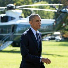 President Obama made his first public comments about the Syria airstrikes on the South Lawn of the White House on Sept. 23 before heading to New York for United Nations meetings.