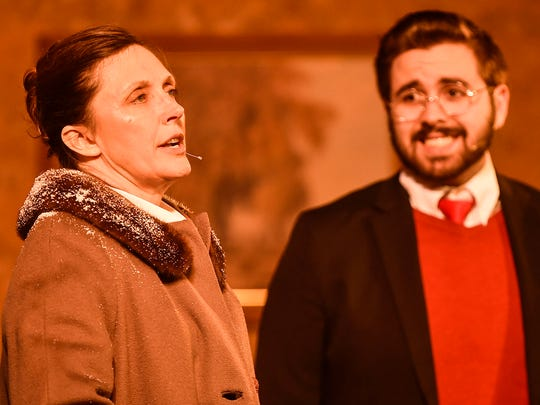 "Dee Ehrman, left, plays the stern Mrs. Boyle and Mike Cochran portrays reluctant guest house owner Giles Ralston in the Palace Theatre production of Agatha Christie's ""The Mousetrap."" The show opens Friday at the May Pavilion."