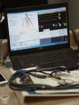 Laptop computer in a nursing class.