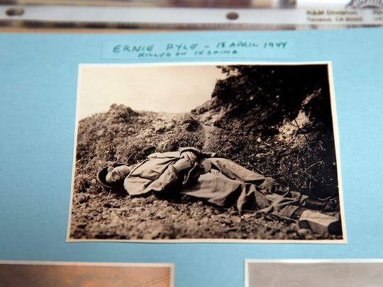 A photo that World War II veteran Donald Tolhurst shows famed war correspondent Ernie Pyle's body shortly after he was killed in action in the Pacific.