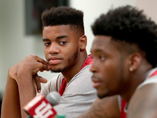 Indiana University's Juwan Morgan,left, listens to De'Ron Davis during a press conference at Assembly Hall Tuesday, July 11, 2017, in Bloomington.