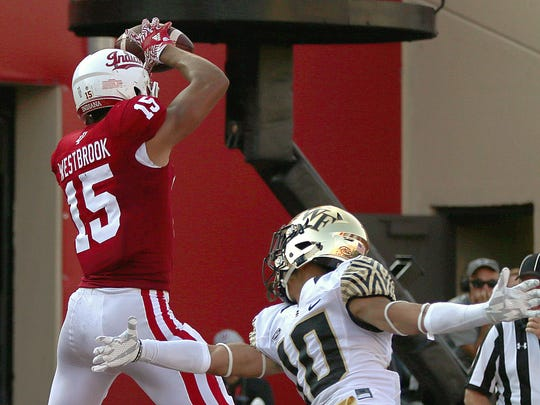 Nick Westbrook (15) hauled in a pass Sept. 24, 2016, at Memorial Stadium in Bloomington against a Wake Forest defender. Westbrook had a 995-yard, six-touchdown sophomore season.