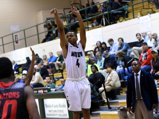 Former Blackman and current Motlow State standout Isaiah Hart fires a shot during a game earlier this season.