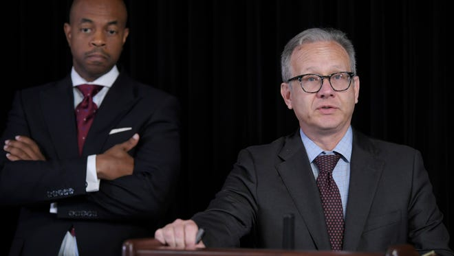 Nashville Mayor David Briley speaks at a news conference on the officer-involved shooting of Daniel Hambrick on Wednesday, Aug. 8, 2018, in the Metropolitan Courthouse in Nashville. State Rep. Harold Love Jr. is in the background.