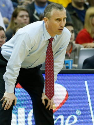 March 20, 2015; Columbus, Ohio; Bobby Hurley coaches the Buffalo Bulls during the second half against the West Virginia Mountaineers in the second round of the 2015 NCAA Tournament at Nationwide Arena.