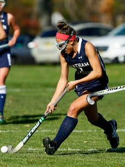 Chatham's Lauren Mumby vs. West Morris in the NJSIAA North 1 Group III field hockey semifinal. West Morris won 2-1 in overtime. October 31, 2017. Chester, New Jersey
