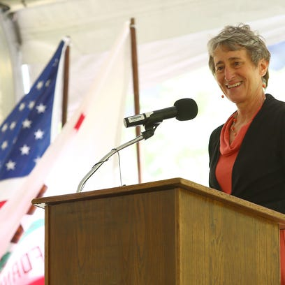 Sally Jewell speaks during the ceremony celebrating