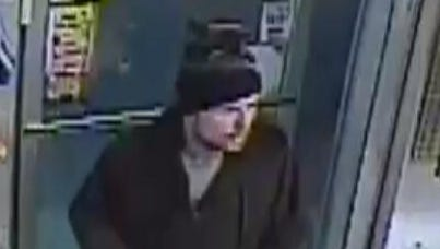 A man brandishing a handgun robbed a gas station on Dobbs Ferry Road in Greenbugh on Monday night.