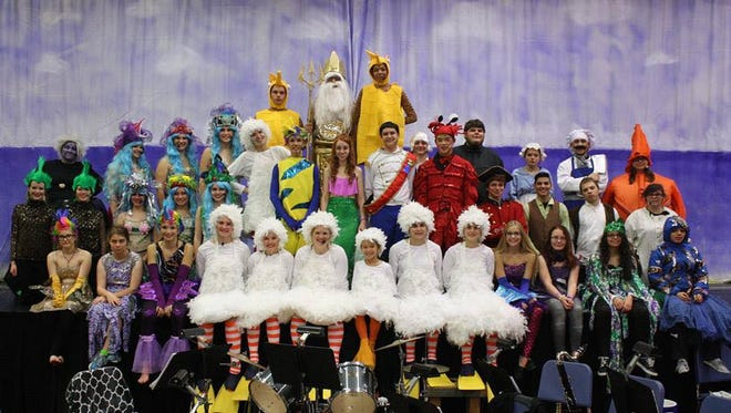"The cast and crew of Mishicot High School's production of ""The Little Mermaid."""