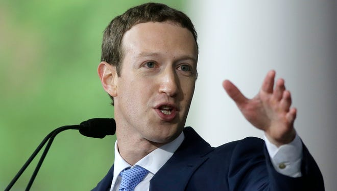 File photo taken in 2017 shows Facebook co-founder and CEO Mark Zuckerberg delivering a commencement address at Harvard University.