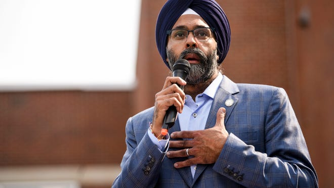 NJ Attorney General Gurbir Grewal speaks during an evening of solidarity in Ridgewood on Wednesday June 10, 2020 to show support for Black Lives Matter.