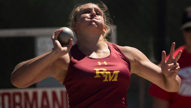 Rocky Mountain High School senior Gabriella McDonald, pictured during the 2017 Class 5A state track and field championships, swept the throwing events at this year's Front Range League meet held last week in Westminster.