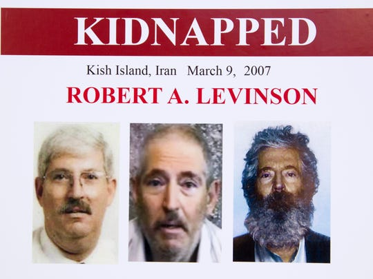 An FBI poster showing a composite image of retired FBI agent Robert Levinson.