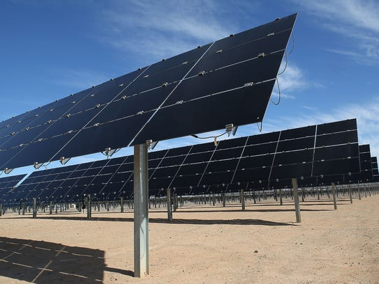 Solar panels tilt upward to track the sun's movement