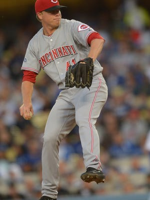 Cincinnati Reds starting pitcher Daniel Wright (41) throws in the second inning of the game against the Los Angeles Dodgers at Dodger Stadium.