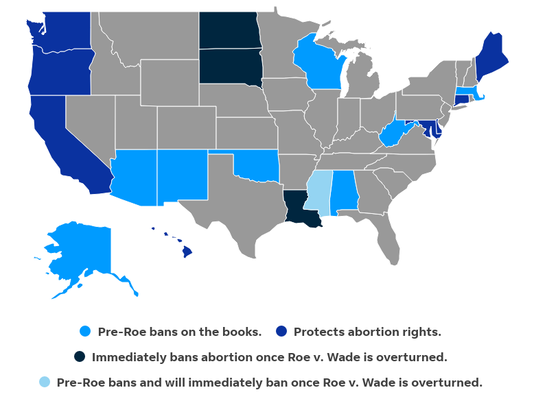 Abortion rights by state broken down