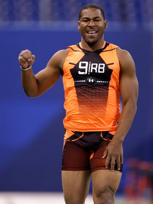 Minnesota running back David Cobb at the NFL combine in February.